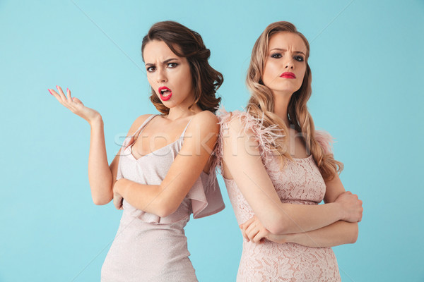 Two confused displeased women in dresses standing together Stock photo © deandrobot