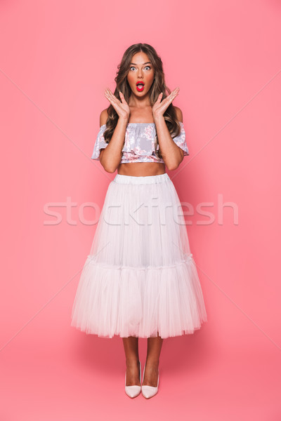 Full length portrait of surprising young woman 20s screaming and Stock photo © deandrobot