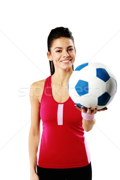Fiatal boldog sport nő tart futballabda Stock fotó © deandrobot