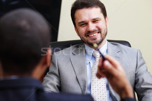 Dois conversa risonho escritório feliz trabalhar Foto stock © deandrobot