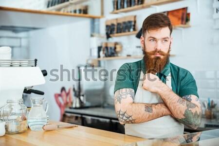 Barista coffeeshop voedsel koffie Stockfoto © deandrobot