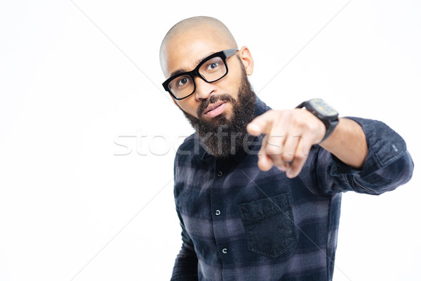 Afro american man pointing finger at camera  Stock photo © deandrobot