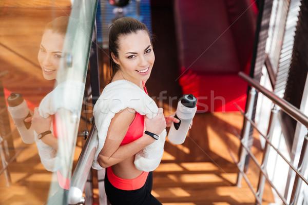 Сток-фото: Cute · женщину · спортсмена · бутылку