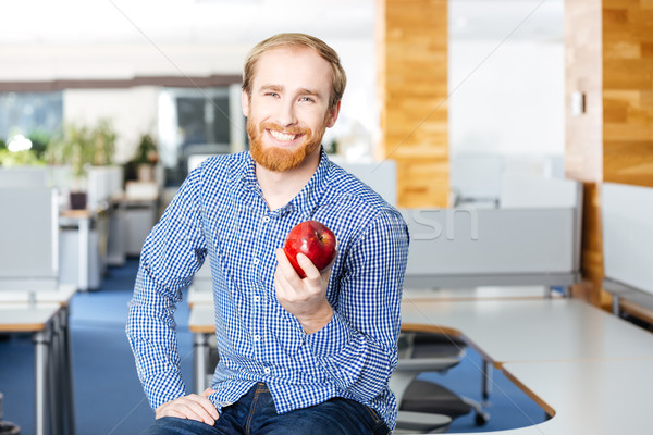Feliz empresario oficina manzana roja guapo Foto stock © deandrobot