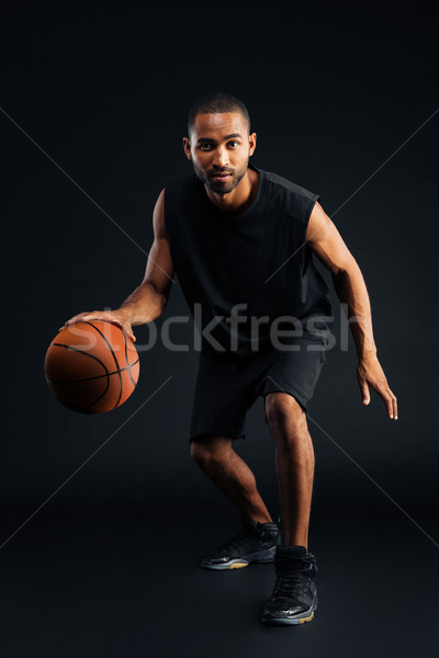 Stockfoto: Portret · ernstig · afrikaanse · sport · man · spelen