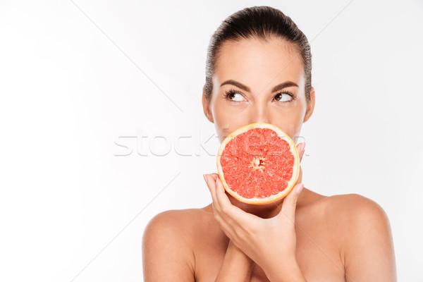 Portré csinos vonzó fiatal nő tart friss Stock fotó © deandrobot