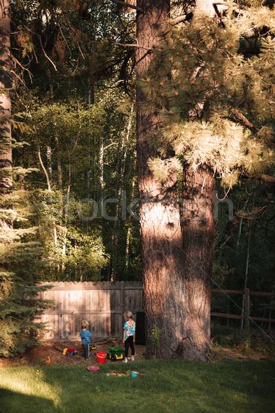 Tam uzunlukta portre erkek kız oyun alanı büyük Stok fotoğraf © deandrobot