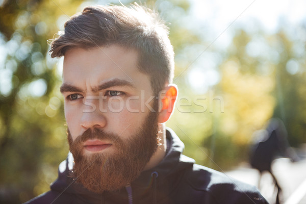 Close up image of runner in park Stock photo © deandrobot