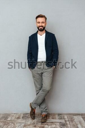 Vertical imagem sério masculino nerd lutador Foto stock © deandrobot