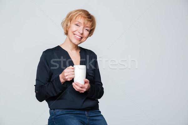 Gelukkig beker thee vergadering Stockfoto © deandrobot