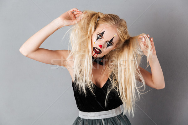 Gizem sarışın kadın halloween makyaj saç Stok fotoğraf © deandrobot
