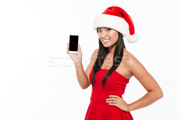 Сток-фото: портрет · улыбаясь · азиатских · женщину · красный · Рождества