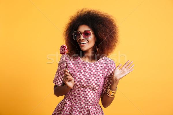 Portré boldog afro amerikai nő retró stílus Stock fotó © deandrobot