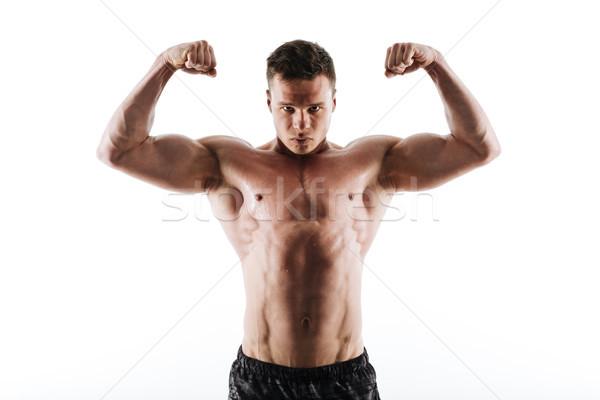 Közelkép portré izzadt erős sportok férfi Stock fotó © deandrobot