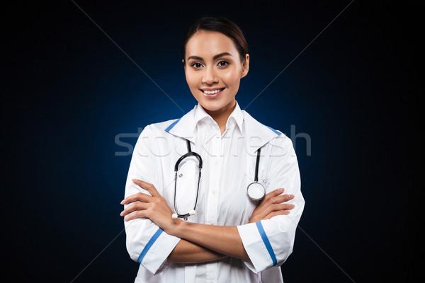 Foto stock: Retrato · hermosa · morena · enfermera · aislado · negro