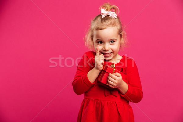 美しい 小さな ブロンド 少女 赤いドレス アイデア ストックフォト © deandrobot