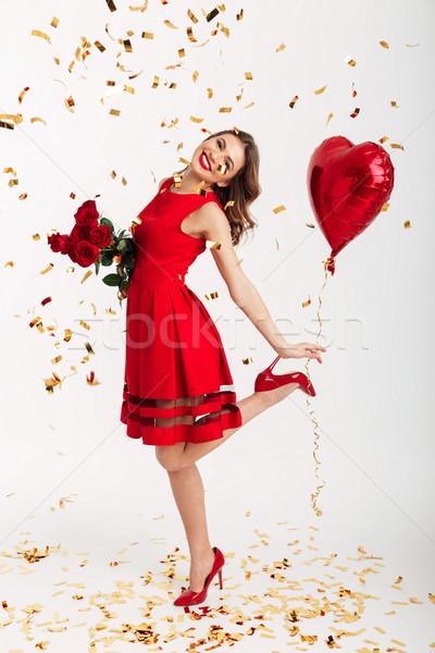 Retrato satisfecho vestido rojo Foto stock © deandrobot