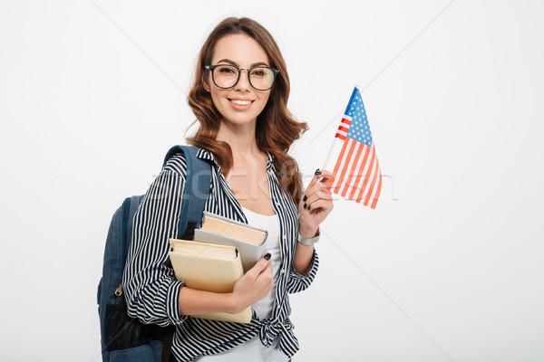 Stockfoto: Portret · glimlachend · toevallig · meisje · student · rugzak