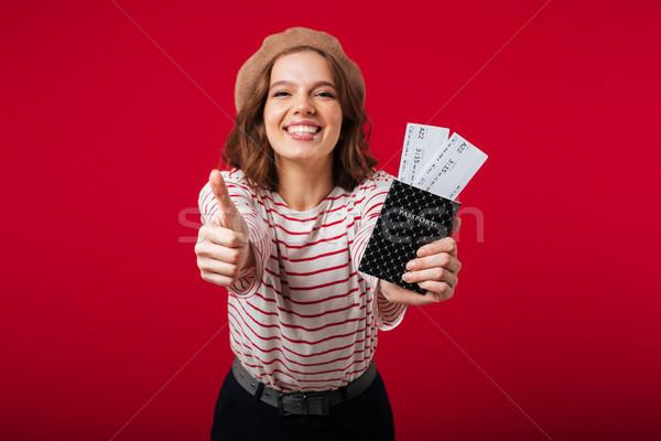 портрет счастливым женщину паспорта Flying Сток-фото © deandrobot