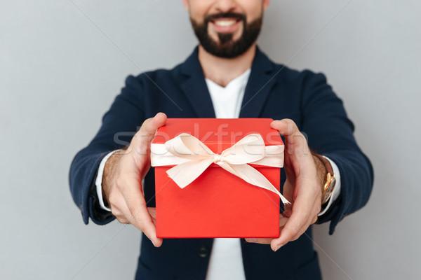 Afbeelding glimlachend bebaarde man business kleding Stockfoto © deandrobot