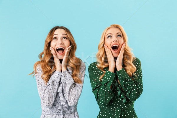 Stock photo: Two shocked screaming women in dresses rejoices