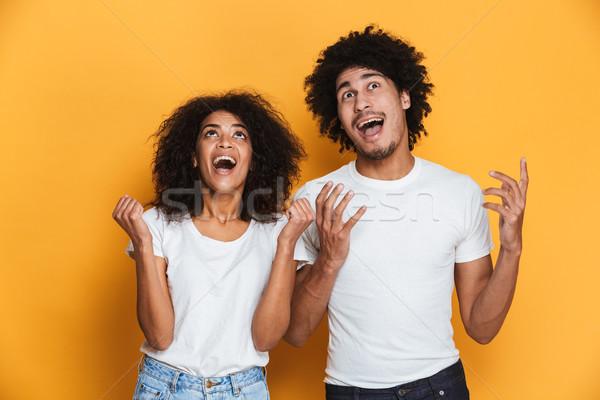 Portré boldog fiatal afro amerikai pár Stock fotó © deandrobot