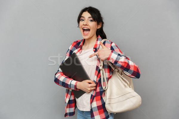 Zdumiewający emocjonalny młodych pani laptop Zdjęcia stock © deandrobot
