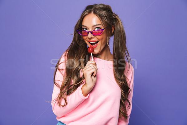 Stockfoto: Portret · vrolijk · meisje · zonnebril · lolly