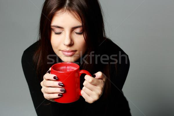 молодые красивая женщина аромат кофе женщину девушки Сток-фото © deandrobot