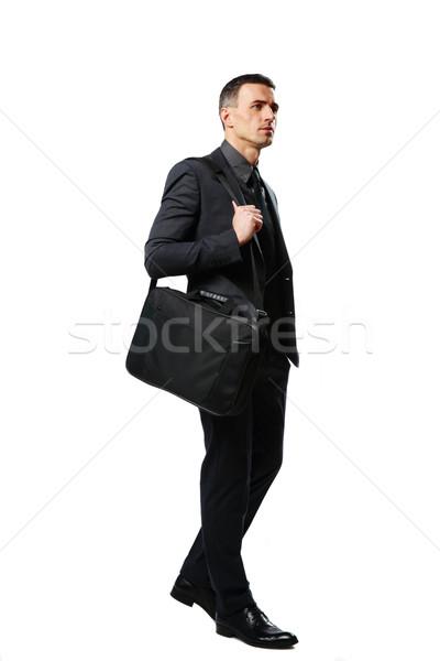 Portret peinzend zakenman zak geïsoleerd witte Stockfoto © deandrobot
