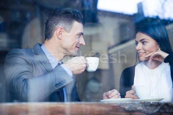ストックフォト: 幸せ · カップル · 飲料 · コーヒー · カフェ