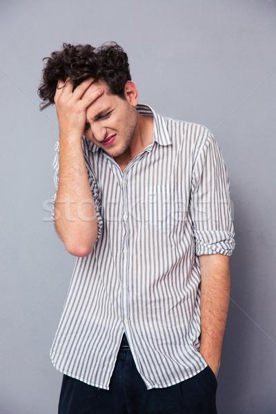 Zdjęcia stock: Portret · depresji · młody · człowiek · szary · działalności · tle