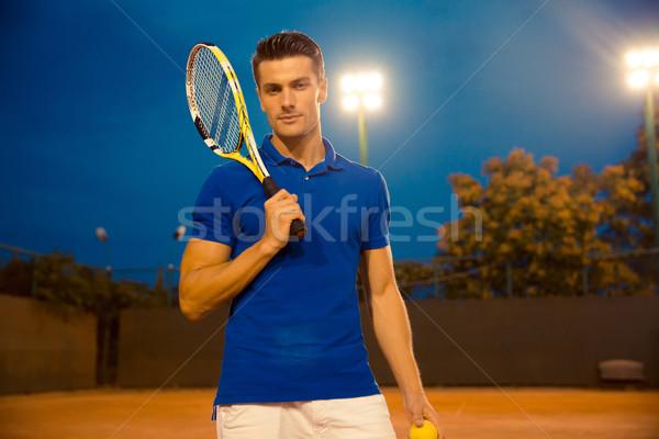 Stockfoto: Mannelijke · tennisspeler · permanente · racket · portret · knap