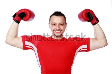 Feliz masculina boxeador éxito retrato Foto stock © deandrobot