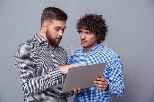 портрет двое мужчин используя ноутбук серый компьютер человека Сток-фото © deandrobot