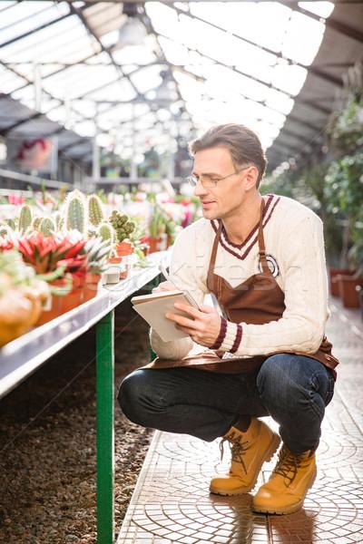 Hombre jardinero mirando notas cuaderno Foto stock © deandrobot
