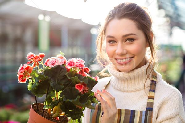 Vrolijk mooie vrouw bloemist bloei tuin Stockfoto © deandrobot