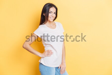 Portrait heureux charmant femme permanent Photo stock © deandrobot