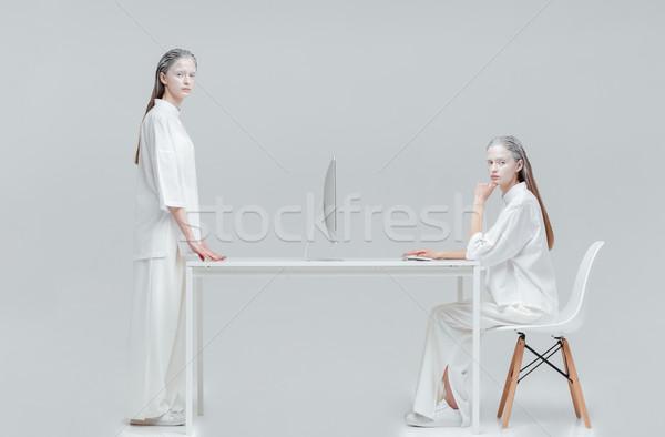 Twee vrouwen toekomst technologie twee kosmisch mystiek Stockfoto © deandrobot