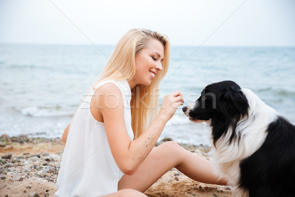 Cheerful woman smiling and playing with dog on the beach Stock photo © deandrobot