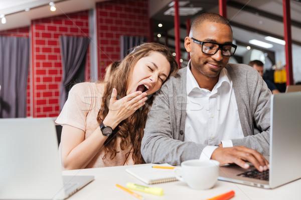 疲れ 退屈 ビジネスの方々  作業 ノートパソコン ストックフォト © deandrobot