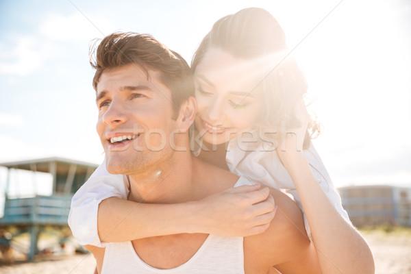 Stok fotoğraf: Mutlu · plaj · sevmek · adam