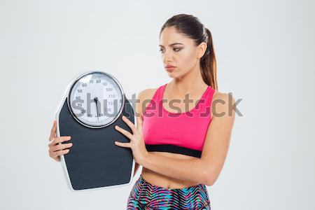 Model with weight scale Stock photo © deandrobot