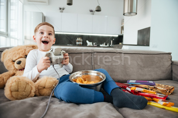 Erkek kanepe oyuncak ayı oynama oyunları Stok fotoğraf © deandrobot