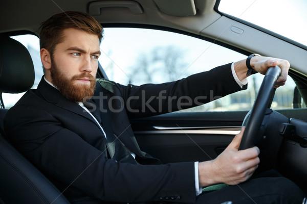 серьезный концентрированный деловой человек костюм вождения Новый автомобиль Сток-фото © deandrobot