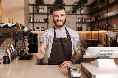 красивый молодые бородатый человека бармен Постоянный Сток-фото © deandrobot