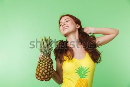 счастливым молодые Lady Постоянный изолированный Сток-фото © deandrobot