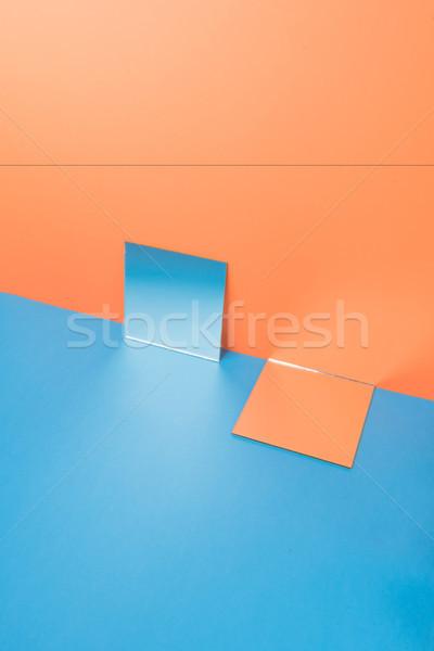 Blauw tabel geïsoleerd oranje foto natuur Stockfoto © deandrobot