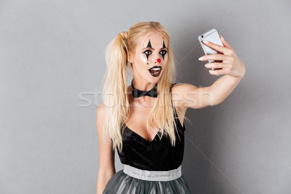 Portré gyönyörű szőke nő halloween bohóc smink Stock fotó © deandrobot