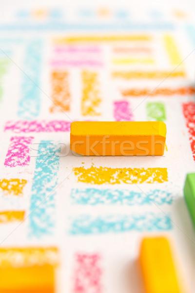 Close up view of orange piece of chalk Stock photo © deandrobot